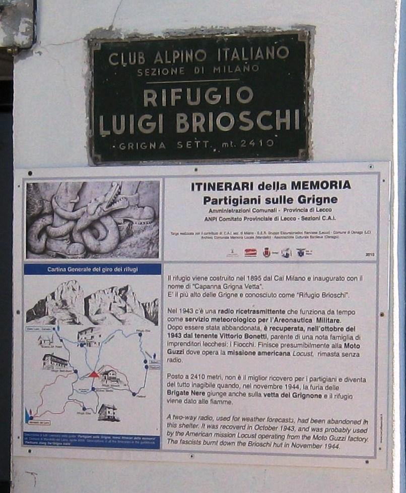 Itinerari della Memoria Mandello Targa Rifugio Brioschi